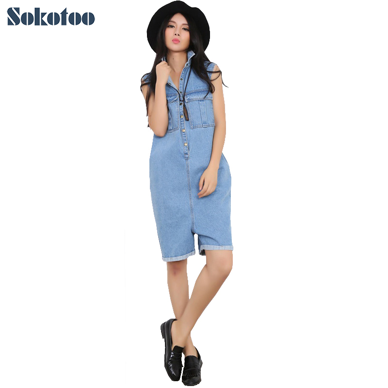 Sokotoo Women's loose large size short playsuits Casual pockets straight Capri Cotton denim jeans Jumpsuits Rompers