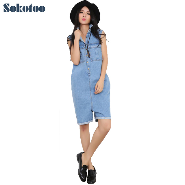 6ac35b66727 Sokotoo Women s loose large size short playsuits Casual pockets straight  Capri Cotton denim jeans Jumpsuits Rompers