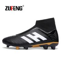 ZUFENG Soccer Shoes High Ankle Superfly Football Boots Long Spikes FG Men Adults Kids Original Outdoor Athletic Cleats Wholesale