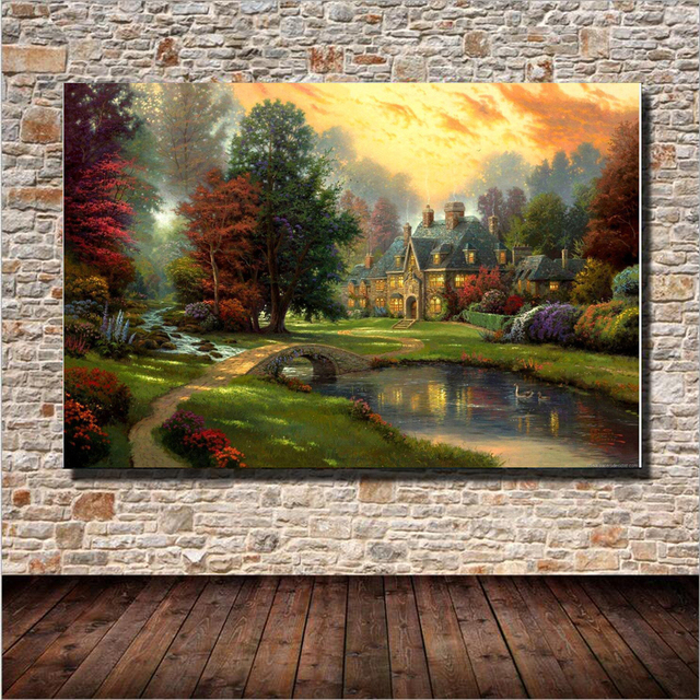 Beautiful Landscape Fairy Tale Castle Oil Painting Wall Art Home Decoration  Canvas Painting For Living Room