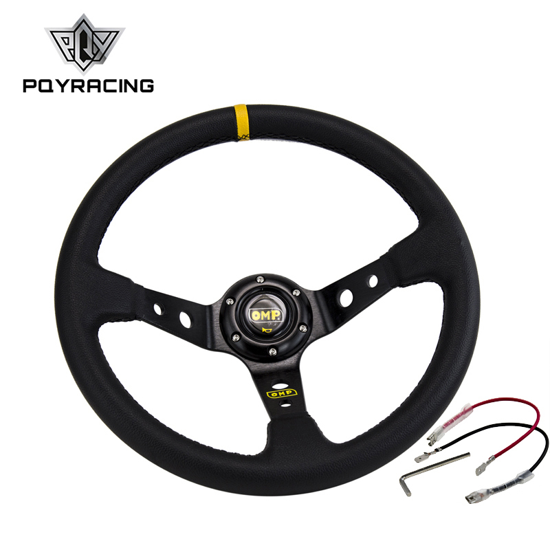 14inch 350MM OMP Steering Wheel PVC Leather Steering Wheel OMP Steering Wheels Deep Corn Dish Wholesale PQY-SW22 new universal sport 350mm second level leather deep dish steering wheel red lines
