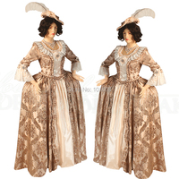 Tailored!Champagne Printing Vintage costumes Renaissance Gothic Theater Victorian Gown Ball Dress Reenactment dresses HL 164