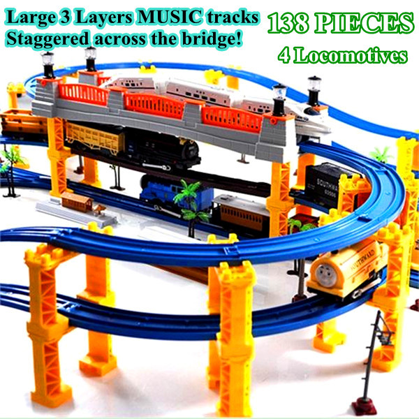 Diamond 138 PIECES 3 Layers 4 Kinds of Locomotives Music thom train track rail slot car toy electric train set Kids Toys tayo