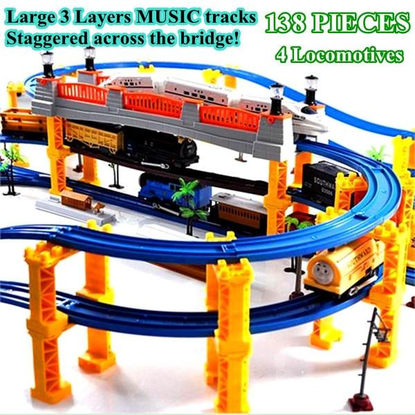 Diamond 138 PIECES 3 Layers 4 Kinds of Locomotives Music thom train track rail slot car toy electric train set Kids Toys tayo