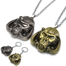 Game Series Fallout 4 Mask Metal Pendant Antique Game Figure Keychain Gold Metal Necklace Keyring Alloy Model For Boys Gift