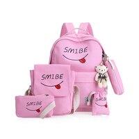 KVKY Summer Women Canvas 5Set Backpack Printing Students Bookbag 5 Pcs School Bag Set For Youth