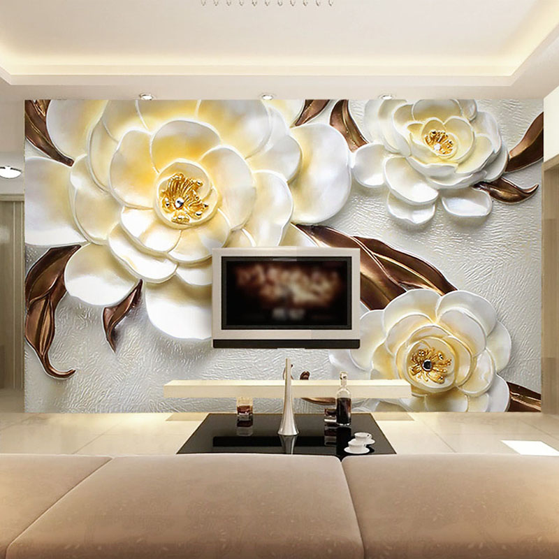 Photo Wallpaper Custom 3D Stereo Relief Beautiful Flower Mural Living Room TV Sofa Backdrop Wall Home Decor Papel De Parede 3D