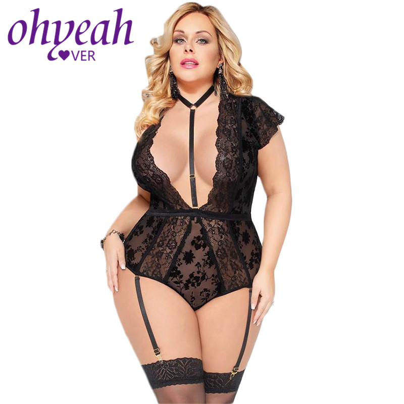 Ohyeahlover Lace Bodysuit For Women Erotic Plus Size <font><b>5XL</b></font> Bodysuit Transparent V neck Backless Body <font><b>Sexy</b></font> <font><b>Femme</b></font> RM80560 image