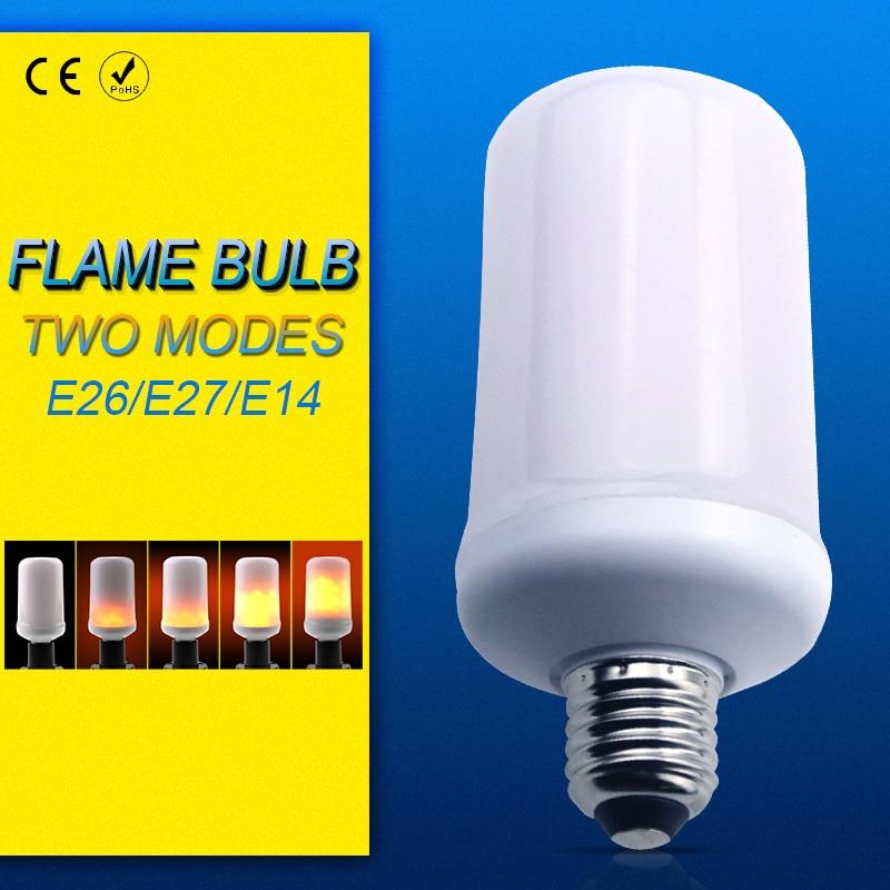 LED Flame Effect Bulb Candle Lamp Corn AC85-265V Two Modes SMD2835 E27 E26 E14 Flickering Emulation flame Fire Light Christmas