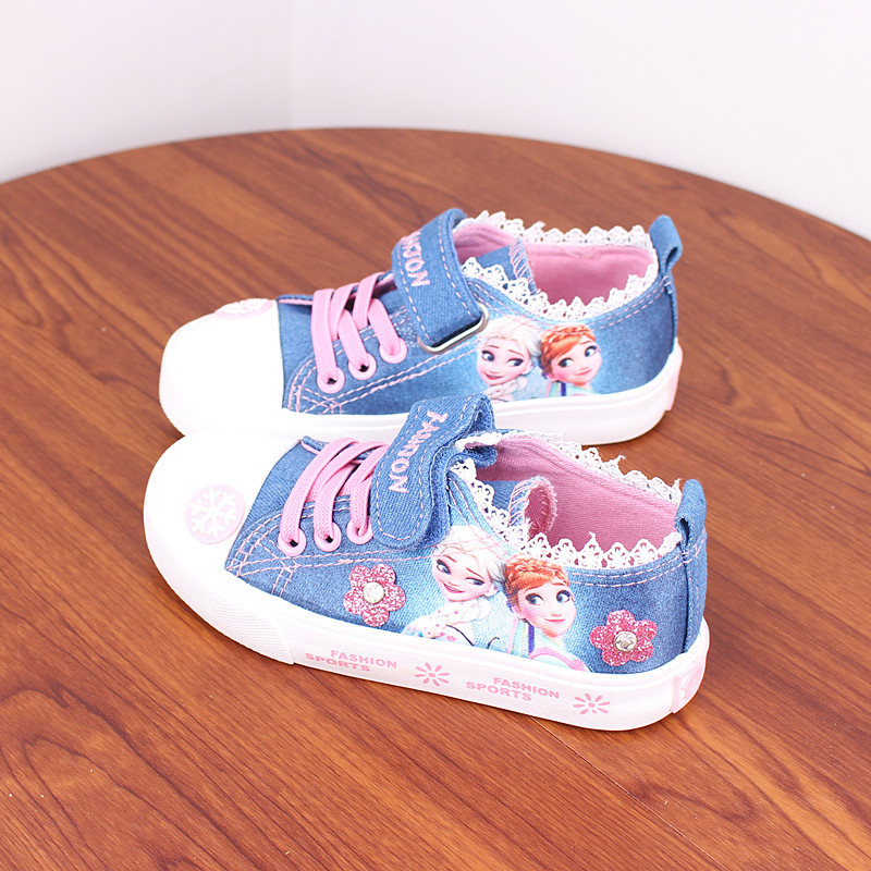 2019 Spring Summer Girls Canvas Shoes Kids Casual Shoes Children Low Cut Sneaker Baby Denim Shoes Elsa Anna Snow 3 To 14 Years