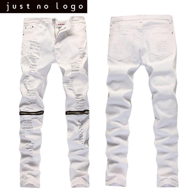 b7a069b0de79 Mens White Jeans Biker Knees Zipper Denim Ripped Jeans Slim Fit Skinny  Straight Trousers Punk Hip Hop Pants Motorcycle Jeans