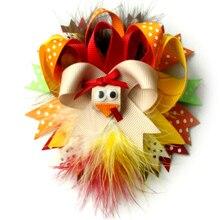 5 дюймов индейка бант для волос индейка бант на День Благодарения бант для волос, Бутик Осень перо бант для волос Девочки Малыши заколка для волос