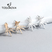 Todorova New Steampunk Geometric Ear Jackets Spike Stud Earrings for Women Piercing Earring Fashion Jewelry Brincos