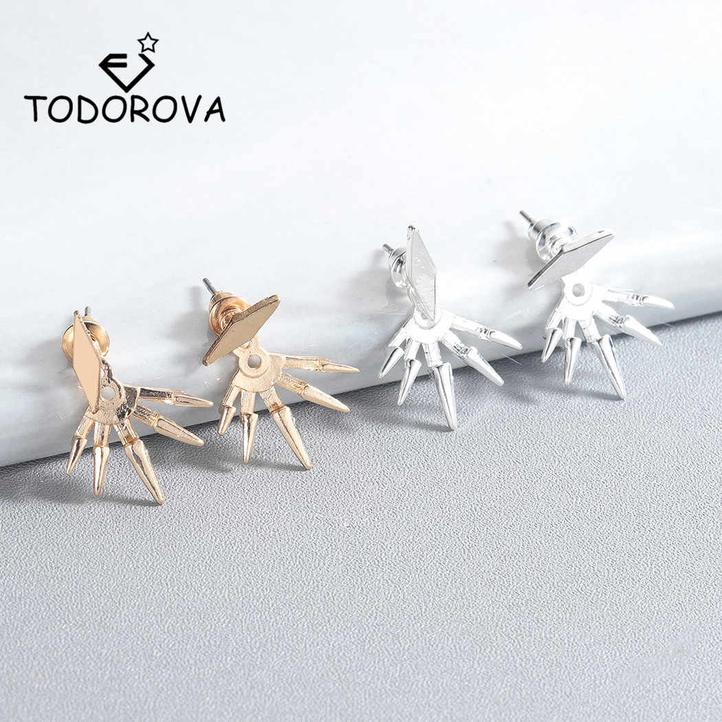 Todorova 새로운 Steampunk 기하학 귀 재킷 여성을위한 스파이크 스터드 귀걸이 피어싱 귀걸이 패션 주얼리 Brincos