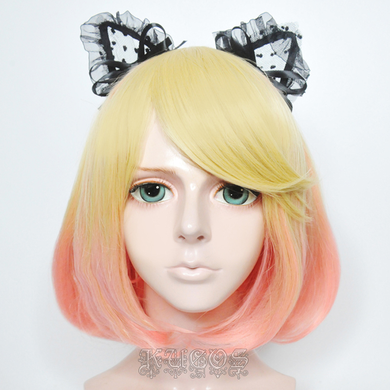 Angels of Death Catherine Ward Short Bob Wigs Golden Gradient Pink Cosplay Wig + Wig Cap