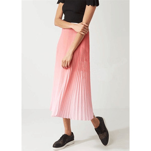 Women Skirt 2019 Spring and Summer New Simple Gradient Pleated Skirt