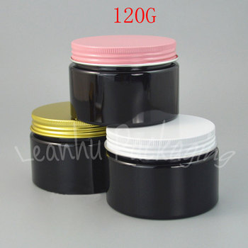 120G Black Plastic Cream Jar Aluminum Cover, 120CC Mask/Eye Cream Sub-bottling, Wide Mouth Bottle, Empty Cosmetic Container