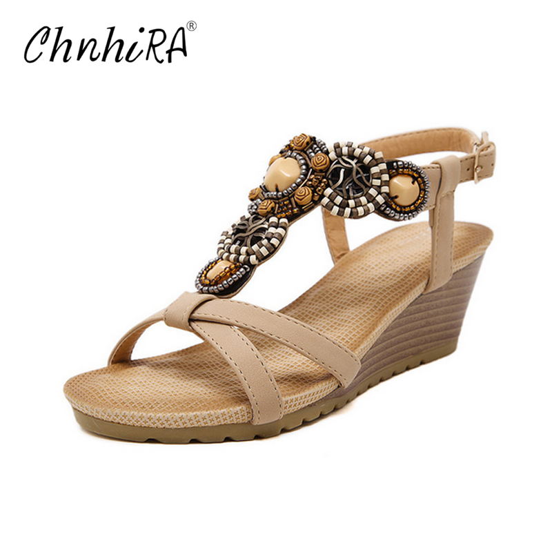 CHNHIRA 2017 Platform Gladiator Sandals Beach Beaded Wedges Sandals Casual Platform Shoes Woman Slip On Creepers #CH409 chnhira 2017 suede gladiator sandals platform wedges summer creepers casual buckle shoes woman sexy fashion high heels ch406