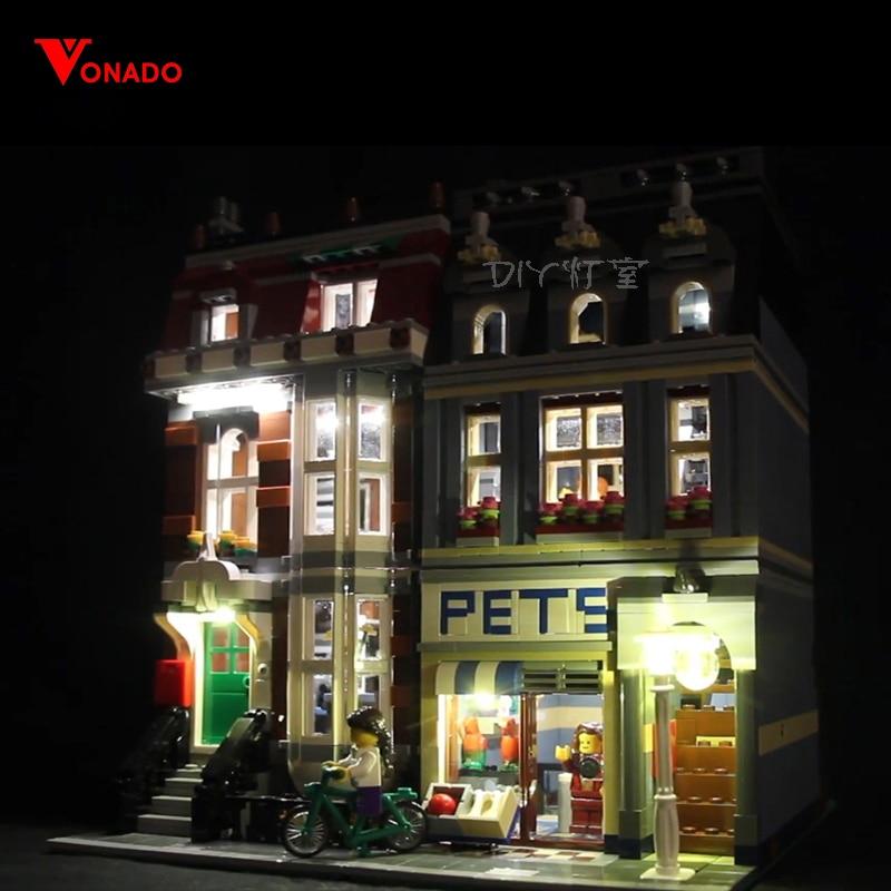 Lumière LED Set pour Lego 10218 blocs de construction créateur City Street Compatible 15009 pet shop jouets (seulement lumière avec boîte de batterie)