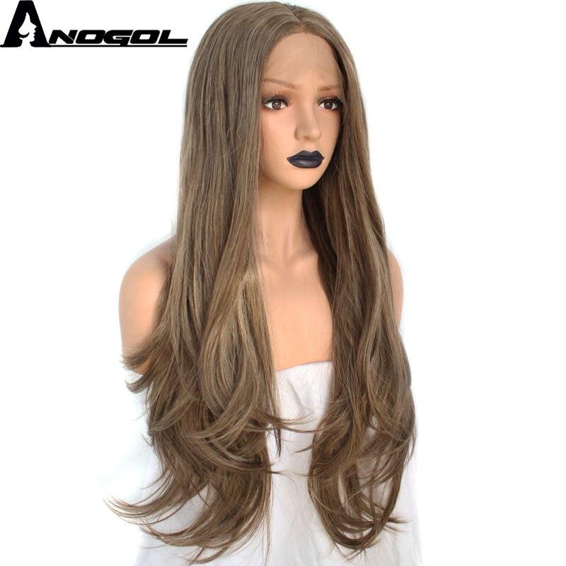 Anogol высокое Температура волокно бразильский волосы Плутон блондинка парики темно-коричневые длинные естественная волна Синтетический Син...