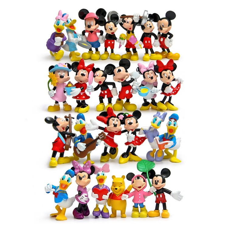 цена на 12pcs Mickey Minnie Donald Duck Daisy Bear Action Figure Cute Mickey PVC Action Figures Toys Collection Model Toy Gifts for Kids