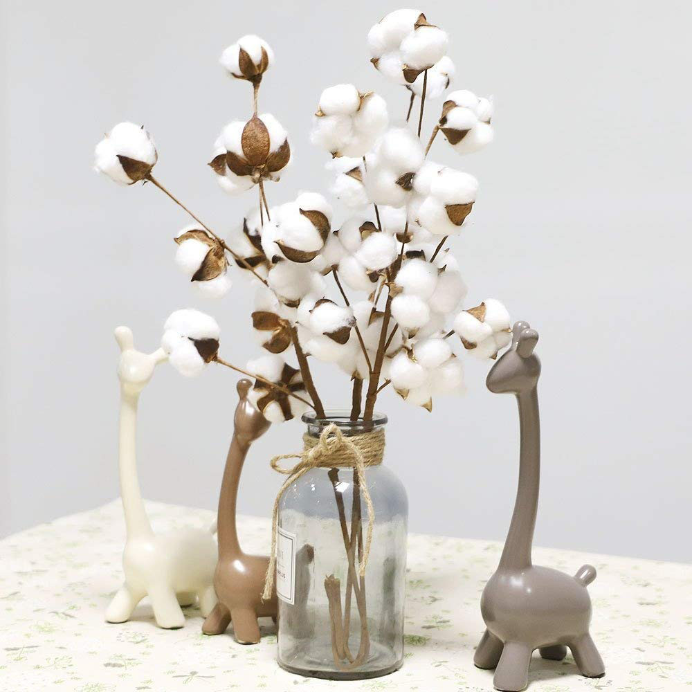 2018 New Naturally Dried Cotton Stems Farmhouse Artificial Flower