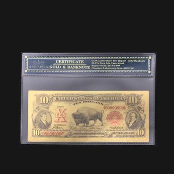 Ameryka Bankntoe 1901 #8217 s USD 10 dolarów złota folia Plated stany zjednoczone banknotów cenione kolekcja pamiątka z bezpłatnym ramką COA tanie i dobre opinie Patriotyzmu Pozłacane Antique sztuczna FGHGF 7days after you paid America Souvenir collection Gold