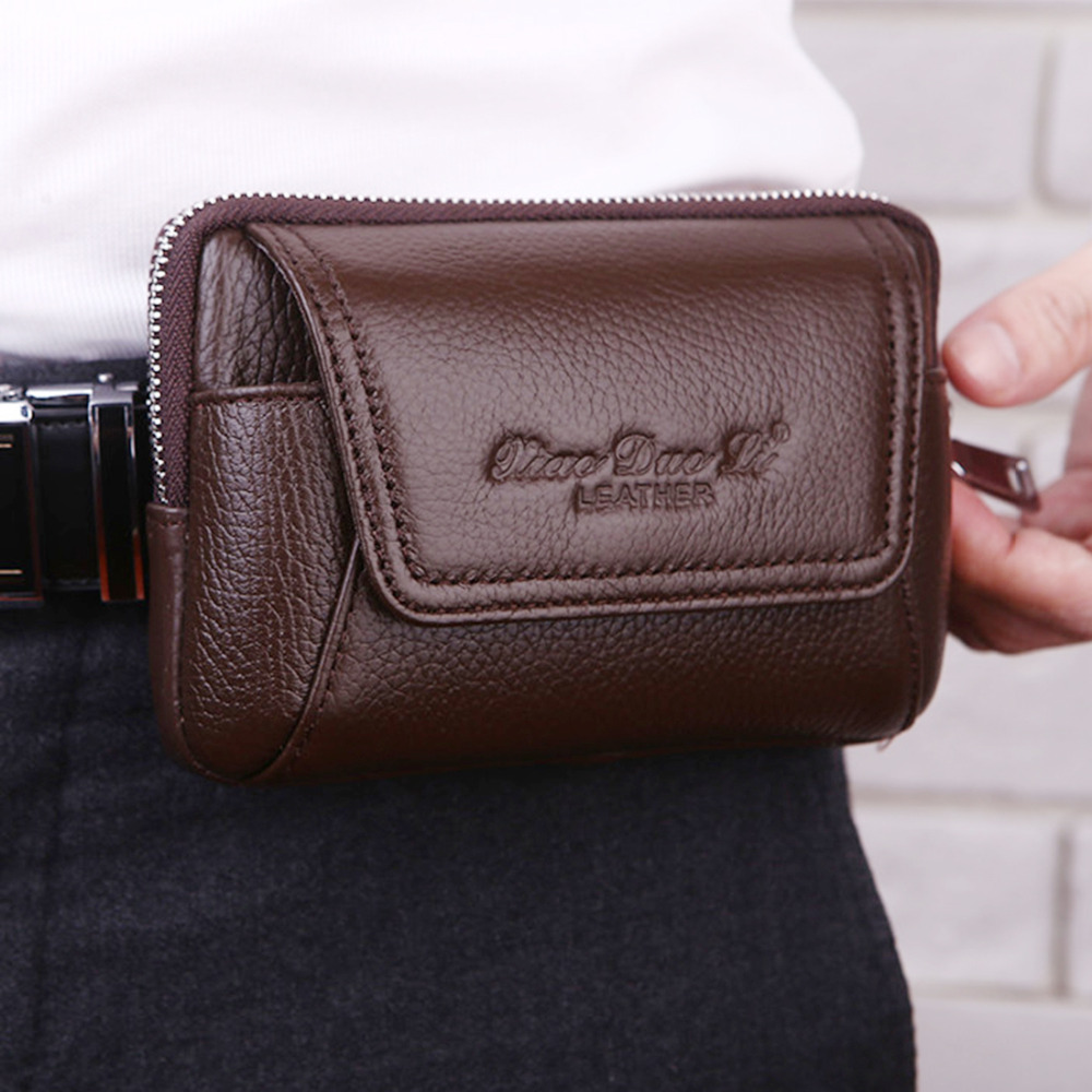 New High Quality Genuine Leather Men Fanny Pack Waist Bag Cell Mobile Phone Pocket Cigarette Case Climb Hip Bum Belt Purse