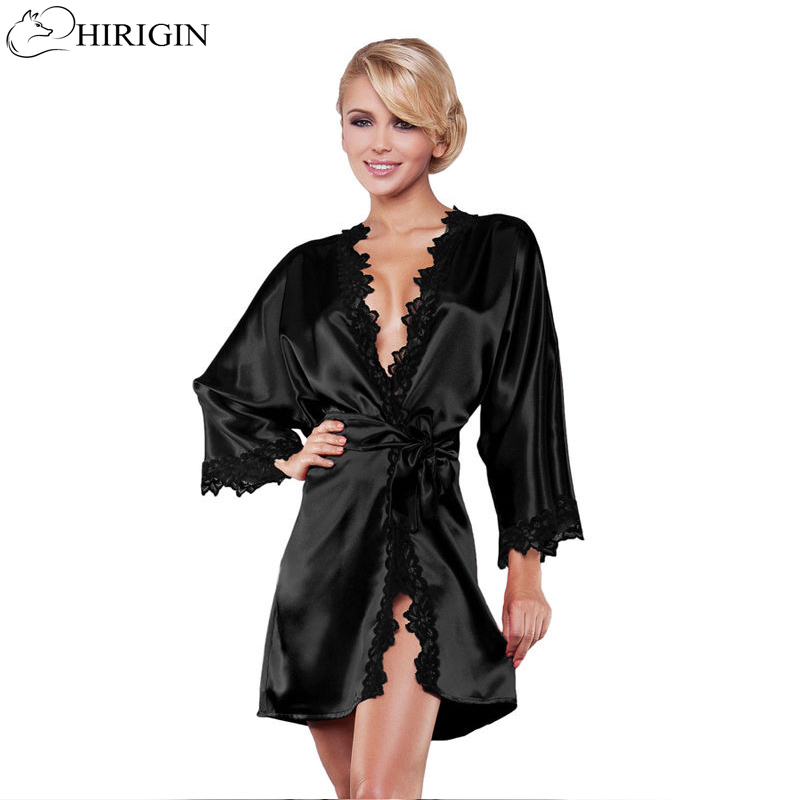 HIRIGIN Ladies Sexy Silk Satin Night Dress Sleeveless Nighties V-neck   Nightgown   Nightdress Lace Sleepwear Nightwear For Women