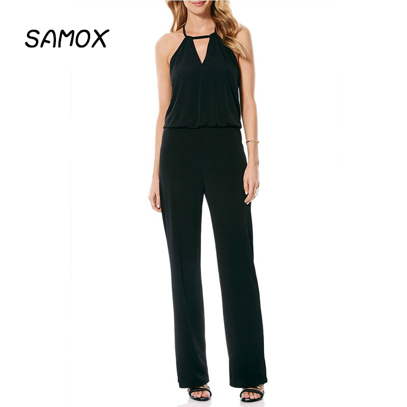 JSMY Summer Sexy V neck Halter Sleeveless Elegant High Waist Straight Jumpsuit in Jumpsuits from Women 39 s Clothing