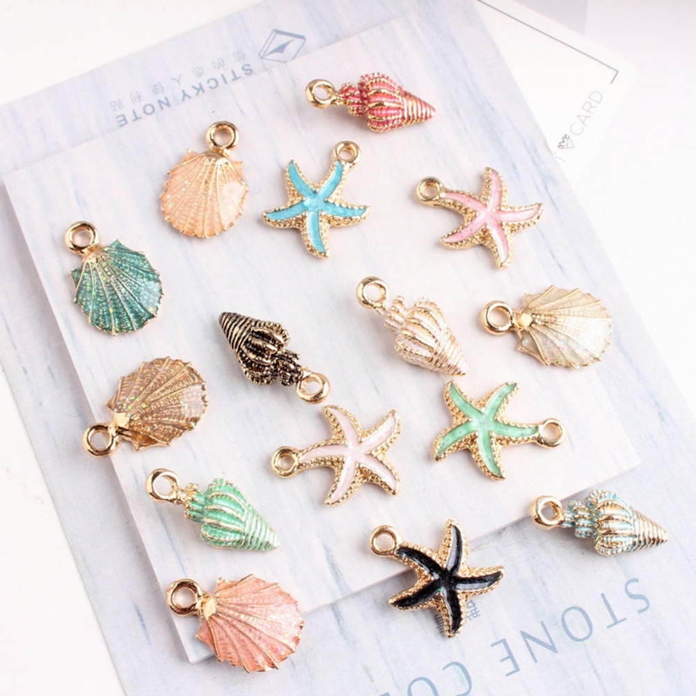 Beautiful Sea Star Oil Drop Pendant Glitter Jewelry Finding Components Hand Made DIY Necklace Bracelet Keyring Accessories Parts