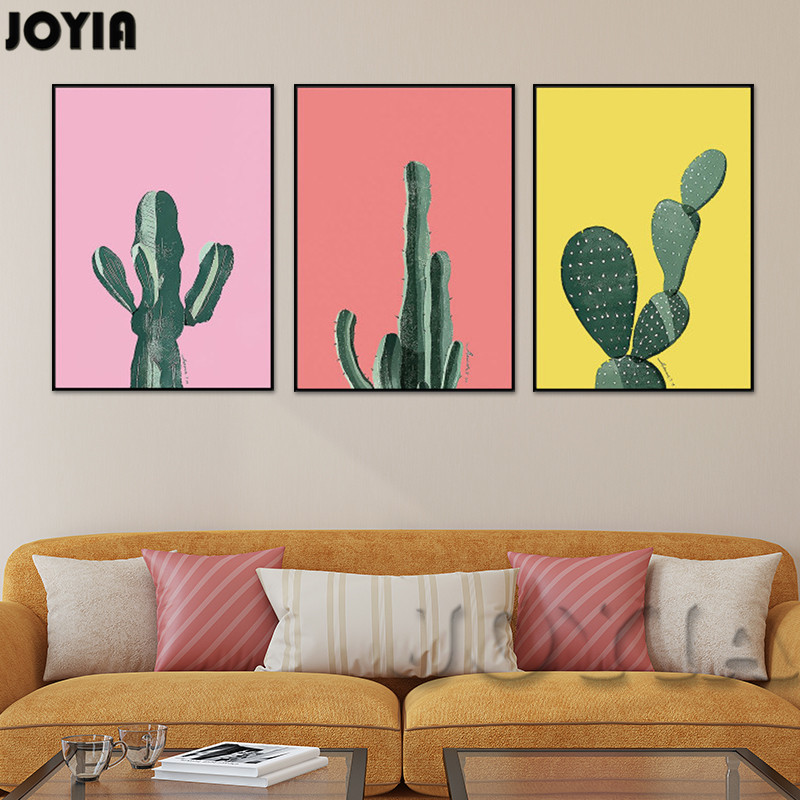 Black White Wall Painting Modern Minimalist Cactus A4 Canvas Art ...