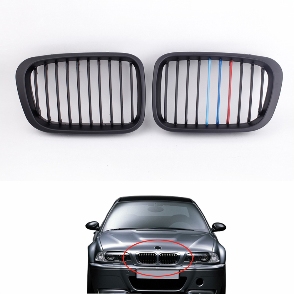Hot Sale Car Style 2Pcs Matte Black M-color Front Racing Grilles for BMW E46 3 Series 4 Door 1998-2001