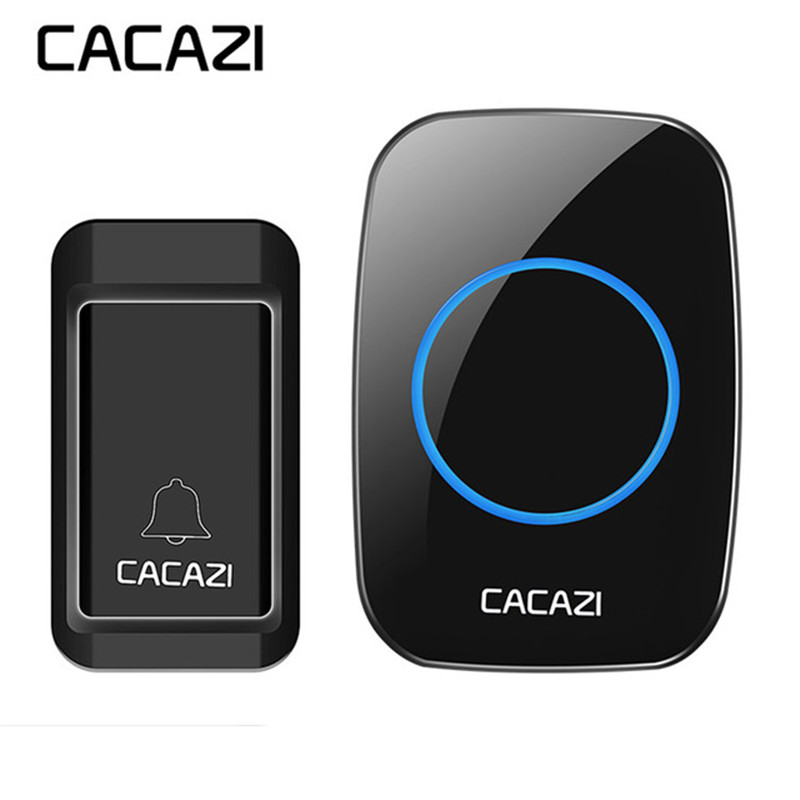 CACAZI NEW Waterproof Self-powered Wireless Doorbell No Battery Button Deurbel Receiver LED Light 120M Remote Home Cordless Bell