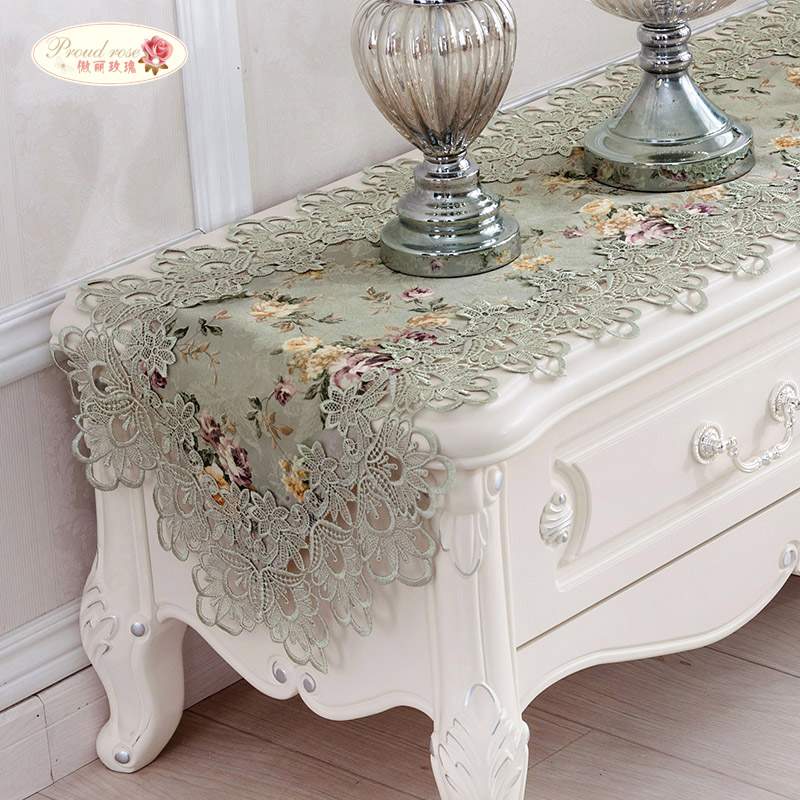 the sale of shoes the best amazing selection US $7.9 49% OFF|Proud Rose Embroidery Table Runner Lace Table Runner Bed  Flag TV Cabinet Cover Cloth Pastoral Table Flag Table Cloth Home Decor-in  ...