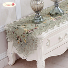 Proud Rose Embroidery Table Runner Lace Bed Flag TV Cabinet Cover Cloth Pastoral Home Decor