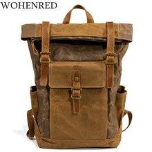 Bagpack Vintage Canvas Leather Laptop Backpack Male College School Bookbag Men Out Door Travel Casual Daypacks Waterproof Bag стоимость