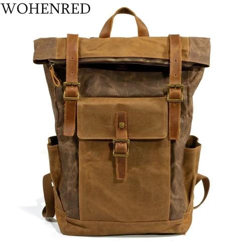 Mochila de Couro Lona do Vintage Casuais dos Homens para Fora Bagpack Laptop da Masculino Faculdade Escola Bookbag Viagem Daypacks da Porta à Prova d' Água Bolsa
