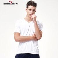 Seven7 Brand Men Casual Undershirts Solid V Neck Soft Comfortable Modal Men Underwear Slim Short Sleeve