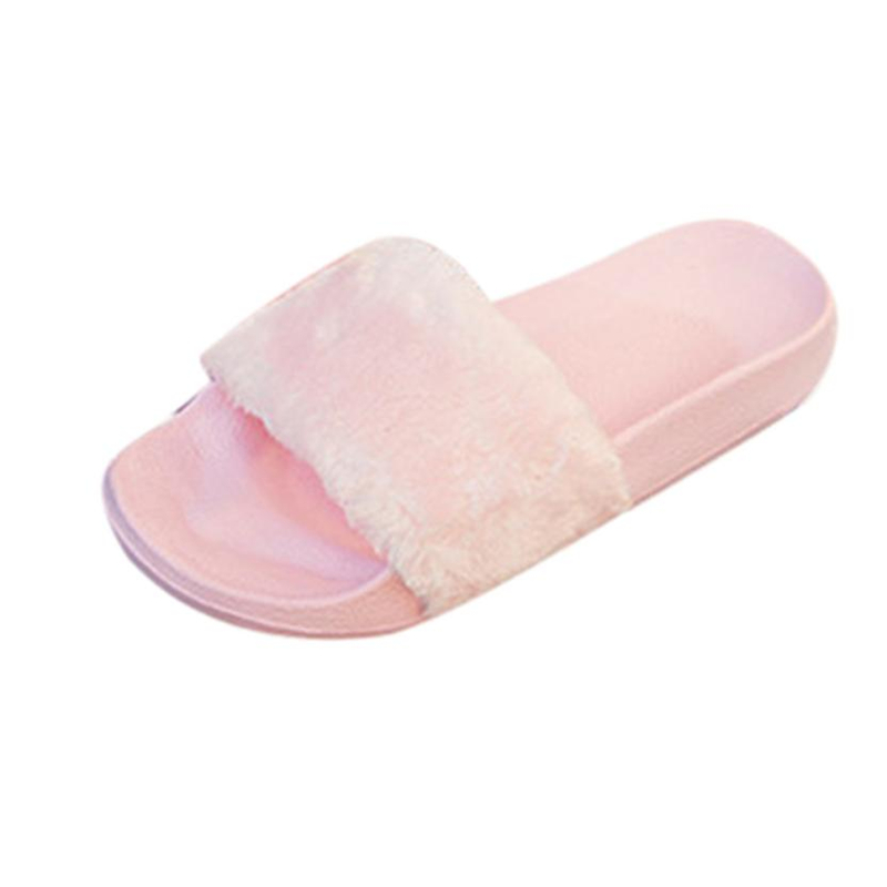 WD04 shoes woman flip flops Womens Ladies Slip On Sliders Fluffy Faux Fur Flat Slip New contrast bow flat sliders