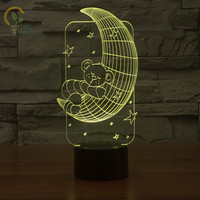 Lamparas 3D Lamp Bear Hug Moon Led Night Light Mood Lamp for Holiday Lamp 3D Bulbing Light USB Table Lamp Color Changing As Gif
