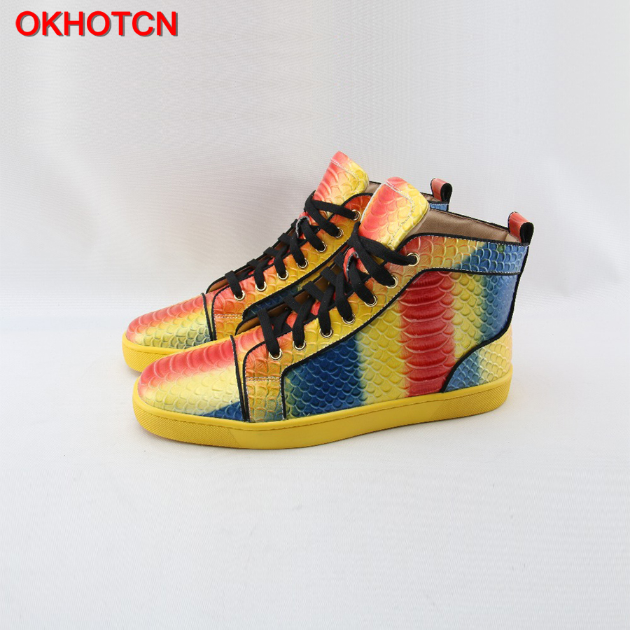 OKHOTCN New Lace Up High Top Genuine Leather Men Sneakers Fish Scale Mixed Colors Men Flats Waterproof Colorful Casual Men Shoes glowing sneakers usb charging shoes lights up colorful led kids luminous sneakers glowing sneakers black led shoes for boys