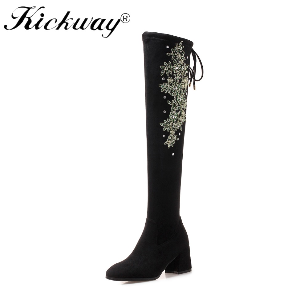 Kickway Faux suede leather boots women botas mujer snow boots zipper embroidery Winter Over the knee boots size 34-43 botas femi недорго, оригинальная цена
