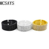 MCSAYS Men S 8 Row Gold Color Clear Crystal CZ Iced Out Hip Hop Bling Bracelet
