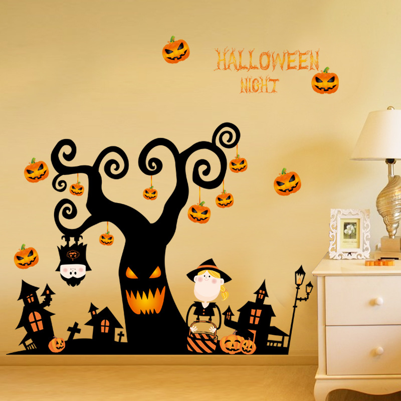 halloween decorations wall stickers glass shop shop window decoration stickers can remove pumpkin decoration posters
