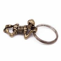 Pure Copper Beautiful Male Skeleton Human Pendant Brass Lying Skull Skull Pendant Personalized Key Chain Accessories