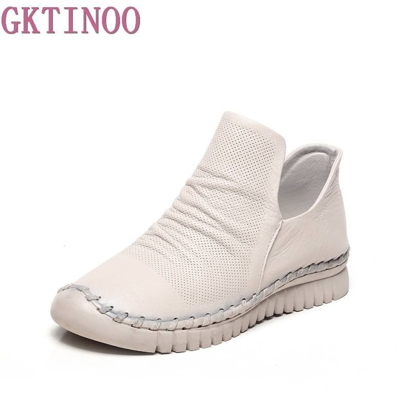 GKTINOO New Women Genuine Leather Boots Vintage Style Flat Booties Soft Cowhide Women's Shoes Handmade Spring Ankle Boots Female twisee new lace up ankle boots zapatos mujer women genuine leather boots vintage style flat booties round toe women s shoes