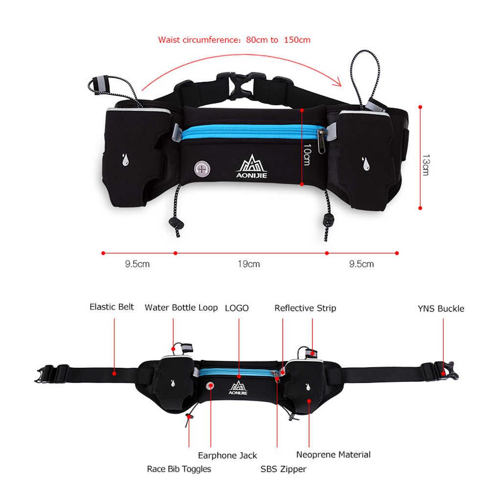 AONIJIE E834 maratón Jogging ciclismo Running cinturón de hidratación bolsa de cintura riñonera soporte de teléfono para botellas de agua de 250ml
