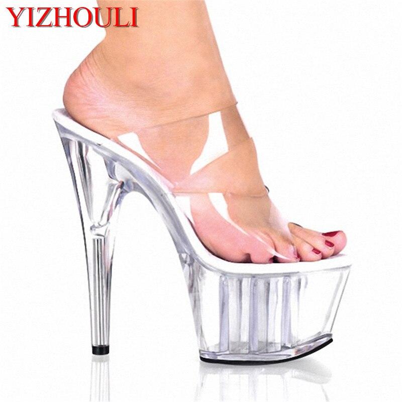 Magazine Étoiles Transparent Plein À La Maison 7 pouce Sandales 17 cm À Talons Hauts Chaussures Sexy Femmes Cristal Stripper Chaussures