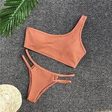 Bikini 2018 Bikinis Women Biquinis Feminino Sexy Pure Color One-shoulder Swimsuit Maillot De Bain Bathing Suit